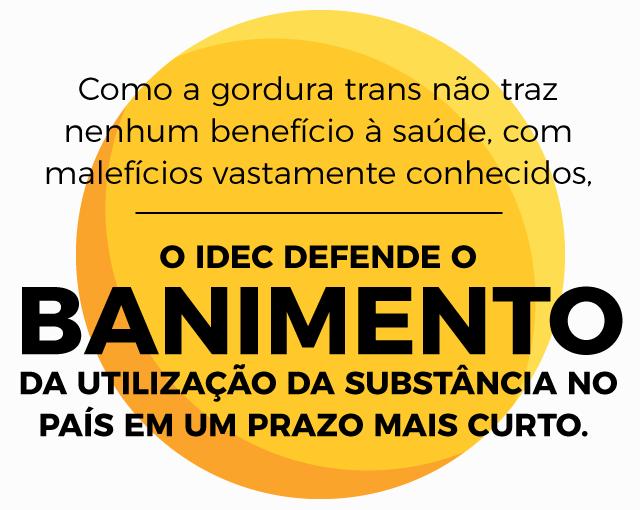 Como a gordura trans não tem nenhum benefício à saúde, com malefícios vastamente conhecidos, o Idec defende o banimento da utilização de gordura trans industrial no Brasil.
