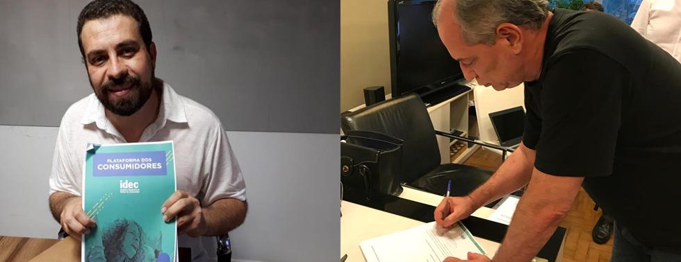 No primeiro turno, os presidenciáveis Guilherme Boulos e Ciro Gomes assinaram a plataforma