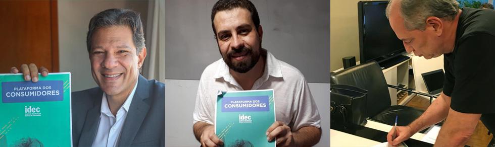 Os três candidatos que assinaram a plataforma com demandas dos consumidores: Fernando Haddad, Guilherme Boulos e Ciro Gomes
